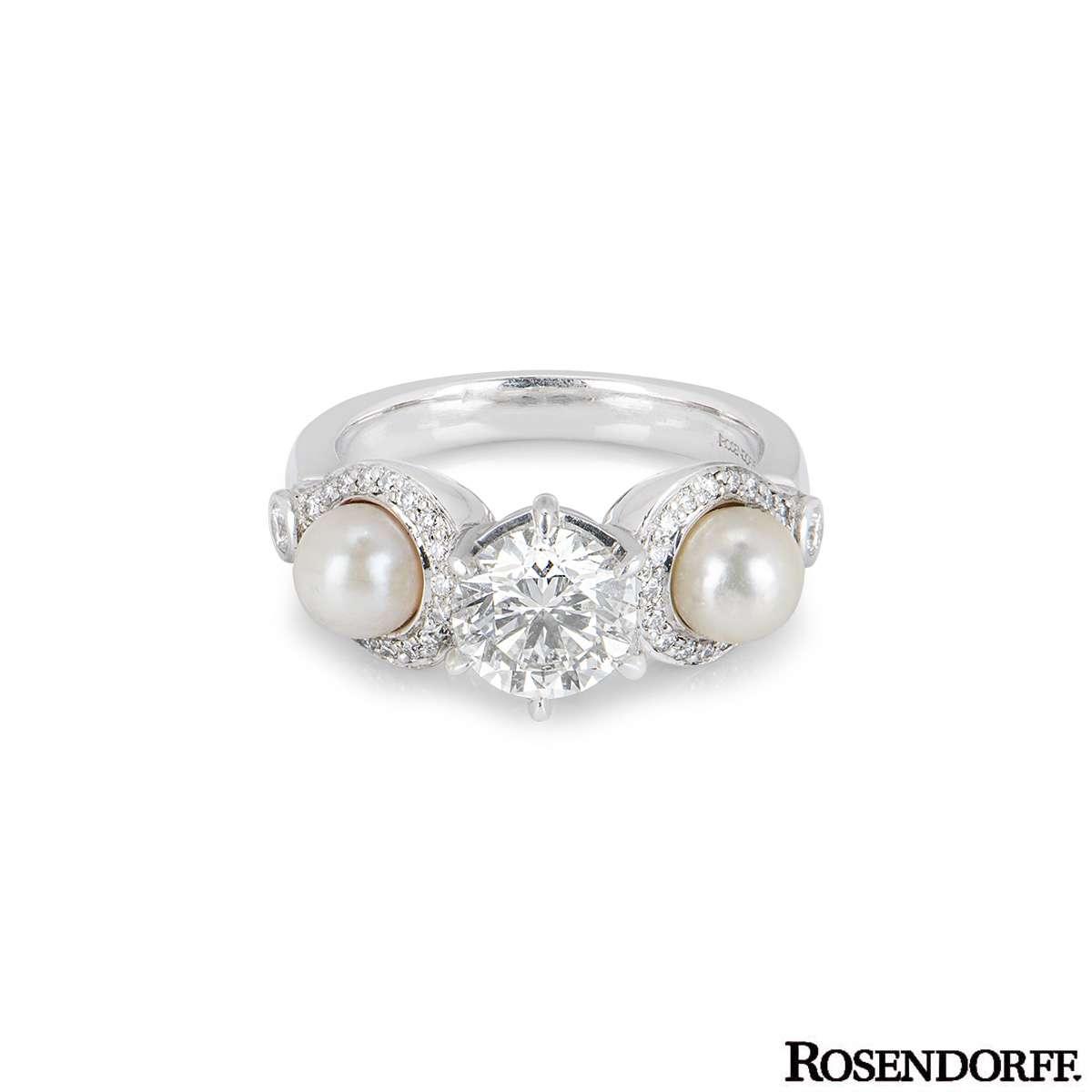 Rosendorff White Gold Diamond & Pearl Ring 1.20ct J/SI1